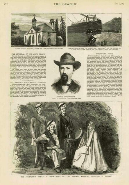 1883 Antique Print BALMORAL CRATHIE CHURCH JOHN BROWN INDIA SALVATION ARMY (142)