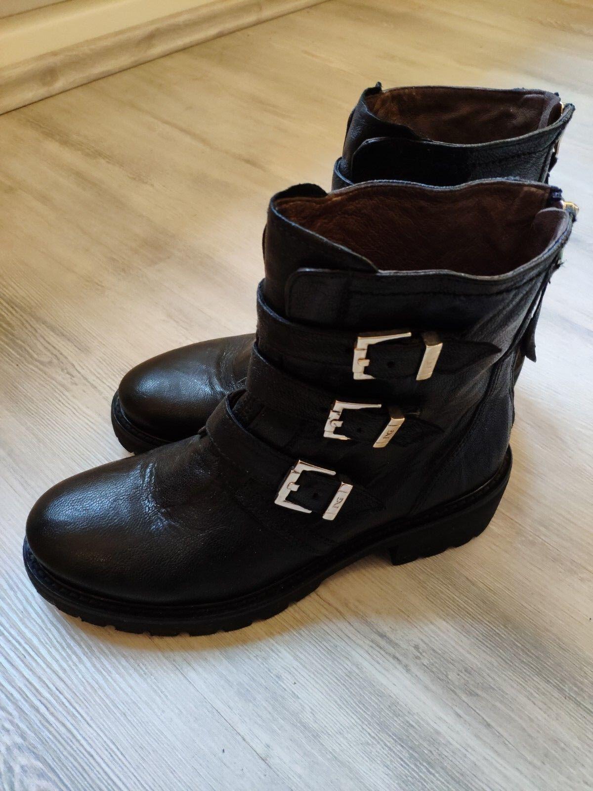 Noir Giardini Véritable Italien bottines cuir Taille 39 comme femmes Neuf
