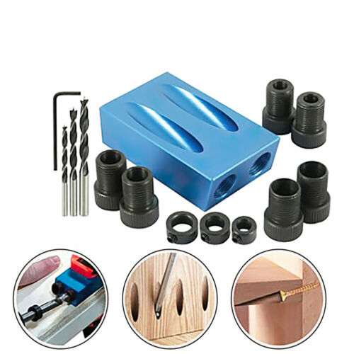 14pcs Pocket Hole Jig Kit Guide Oblique Drill Angle Hole Locator Woodworking