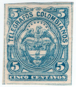 (I.B) Colombia Telegraphs : 5c Blue (1886)