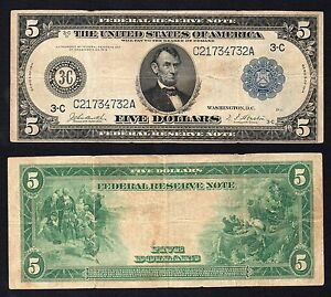 United States - 5 Dollars Reserva Federal Philadelphia 1914 (Large) BB / VF S-01