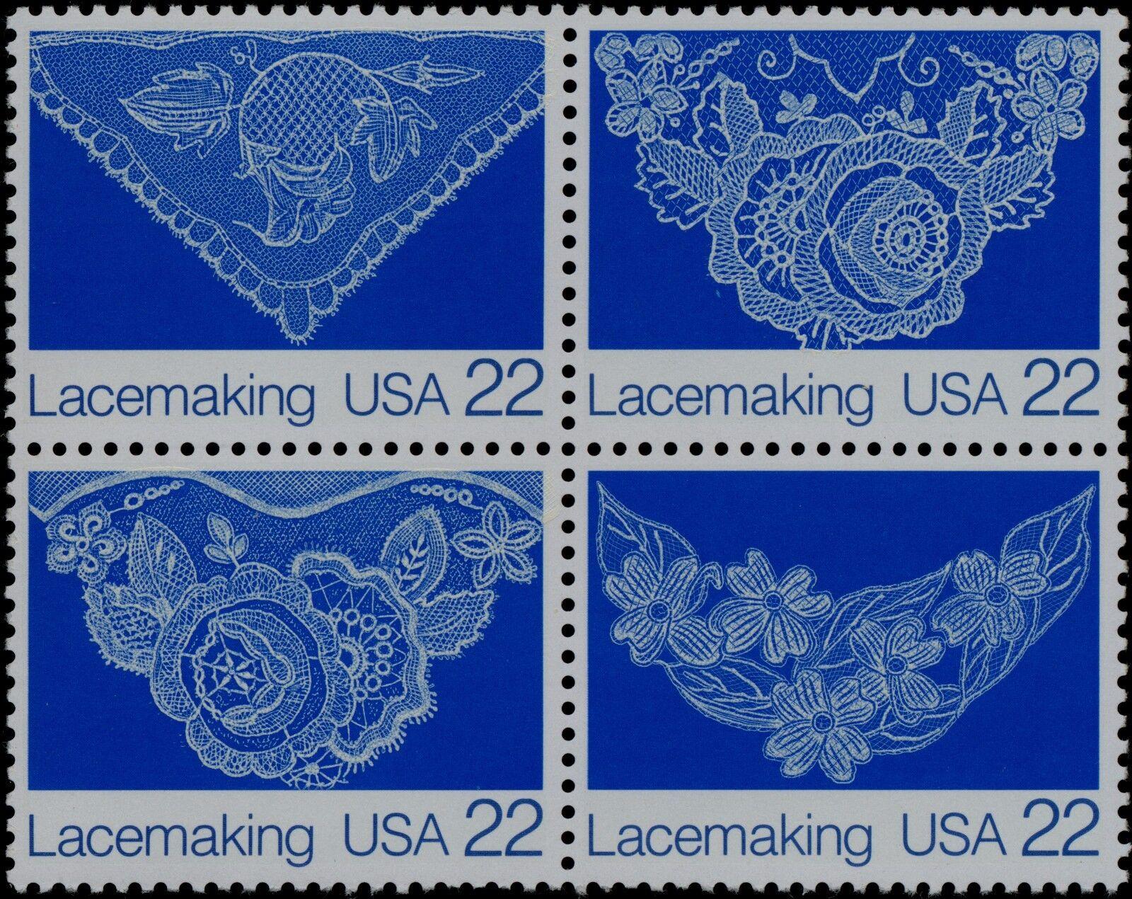 1987 22c Lacemaking, Block of 4 Scott 2351-54 Mint F/VF