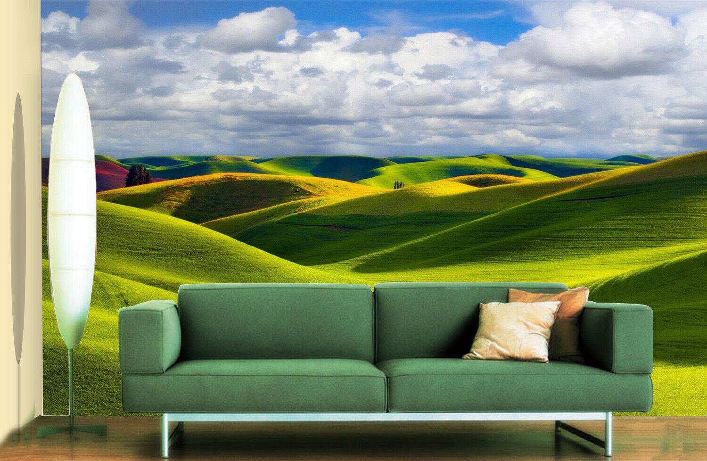 3D Wolken Grüne Hügel 62 62 62 Tapete Tapeten Mauer Foto Familie Tapete Wandgemälde DE 3e963e