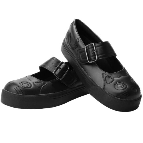 T.U.K Kitty Cat Face /& Tail Back In Black Vegan Punk Mary Jane Sneaker Shoes