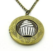 Bronze Cupcake Locket Pendant Necklace Photo Love Family Gift