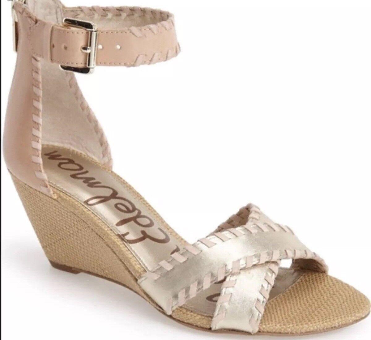 Sam Edelman 8 SILVIA Wedge Sandals Toe Crisscross Leather Light gold Ankle Strap