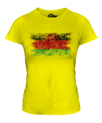 Malawi EFFETTO INVECCHIATO FLAG Donna T-Shirt Top Camicia del Malawi la FOOTBALL JERSEY REGALO