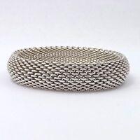 Tiffany & Co Somerset Domed Mesh Bangle Bracelet Sterling Silver Medium in Box