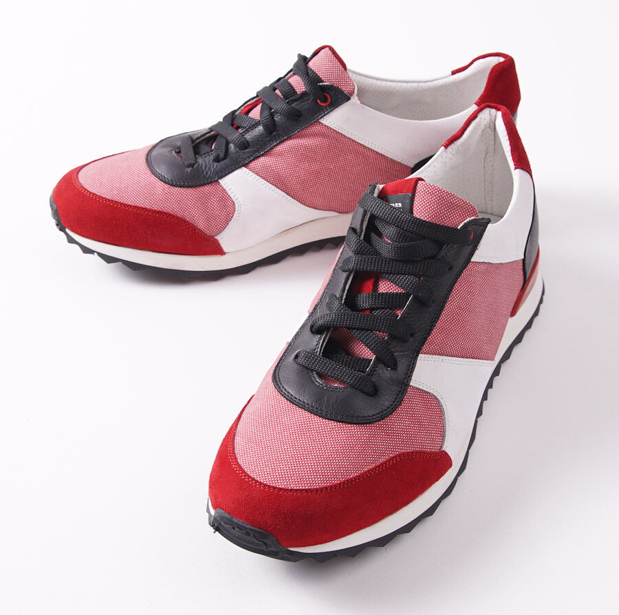 NIB  1195 KITON NAPOLI Red and White Calf Leather Sneakers US 9.5 (IT 8.5) shoes