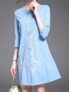 c7d4859551ea Elegante raffinato vestito abito corto scampanato blu azzurro bianco ...