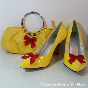 OOAK-Minnie-Mouse-Costume-Shoes-Heels-Pumps-11-Hand-Painted-Yellow-with-Purse