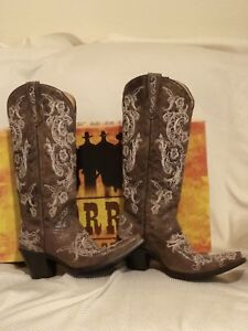 NIB-Corral-Boots-Brown-White-Full-Stitch-amp-Studs-Leather-Cowgirl-Boots-10-5