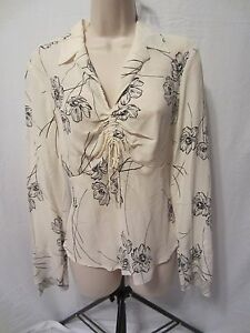 The-Limited-Silk-100-Silk-Pull-Over-Shirt-Ivory-w-Black-Flowers-Women-039-s-Small