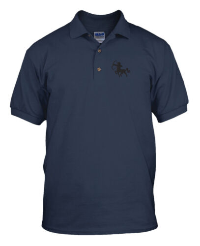 Sagittarius Embroidery Embroidered 100/% Cotton Polo Shirt Top