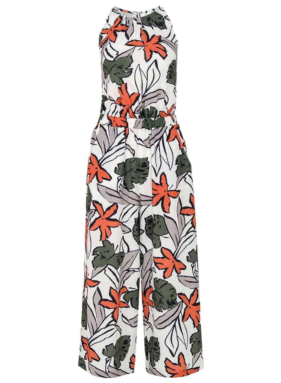 Quiz Crepe Tropical Print Jumpsuit Size LF083 SS 09