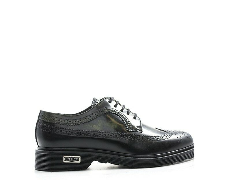 Zapatos CULT Hombre con Cordones Negro De Cuero Natural CLE103200 formales,