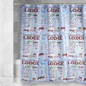 Fabric-Shower-Curtain-Lake-House-Welcome-To-Our-Lodge-Moose-Cabin-Camp-Blue-NEW