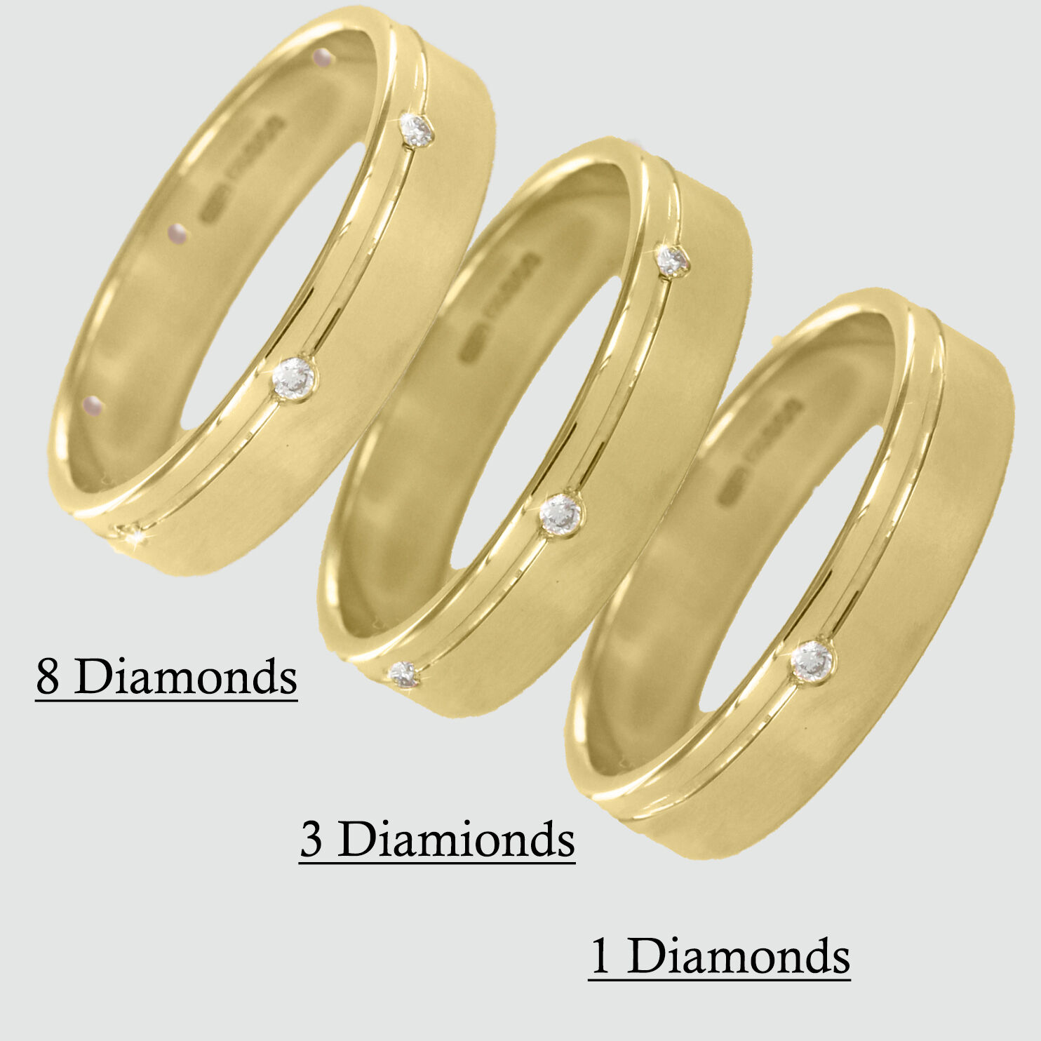 Hallmarked 9ct Yellow gold Diamond Set Mens 5mm Wedding Rings Finger Size Q-Z+2