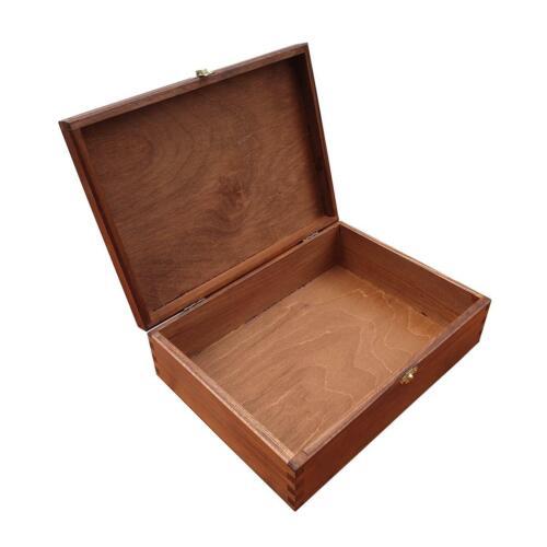 10 CM Hauteur Blanc Lid Verrouillable Brun Boîte en Bois Pour Papier A4 Taille