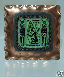 VINTAGE-COPPER-BROOCH-PIN-EGYPTIAN-GODS-CARVED