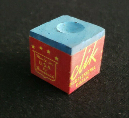 "BRUNSWICK BILLIARDS /""CLIK/"" BLUE CHALK 4 PC VINTAGE STOCK THE GAME ROOM STORE NJ"