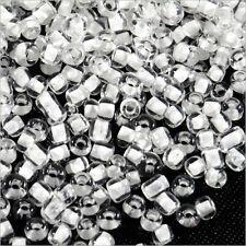 Perles de Rocailles en verre Transparent 2mm Centre Blanc 20g (12/0)