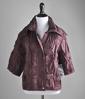 Samuel Dong $149 Tiered Textured Stretch Lined Jacket Top Size Large
