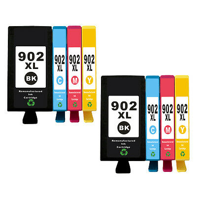 8pk Remanufactured HP 902XL BCMY Ink Cartridge for Officejet 6951 6958 6962 6979