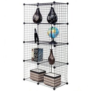 Image Is Loading DIY 8 Cubes Grid Wire Storage Cube Shelves