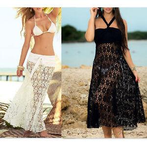 1dbedc93cdffc Sexy Women s Lace Crochet Skirt Beach Skirt Cover Up Beachwear Maxi ...