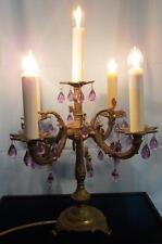 VTG Antique Brass 5 Arm Candelabra Lamp Rococo Purple Amethyst Raindrop Prisms