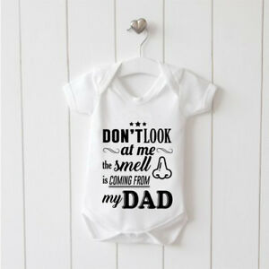 Don't Look at me the Smell is Coming Vest Baby Grow 100% Cotton Boys Girls Bodys