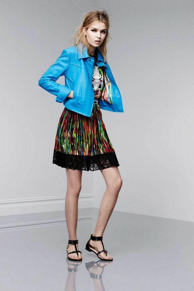NWT Prabal Gurung Pleated Lace Trim Skirt - Nolita Watercolor Rainbow Print