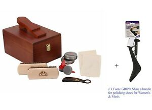 59622a404e2 Kiwi Select Shoe Shine Care Kit Valet II Wooden Box w  10pc Content ...