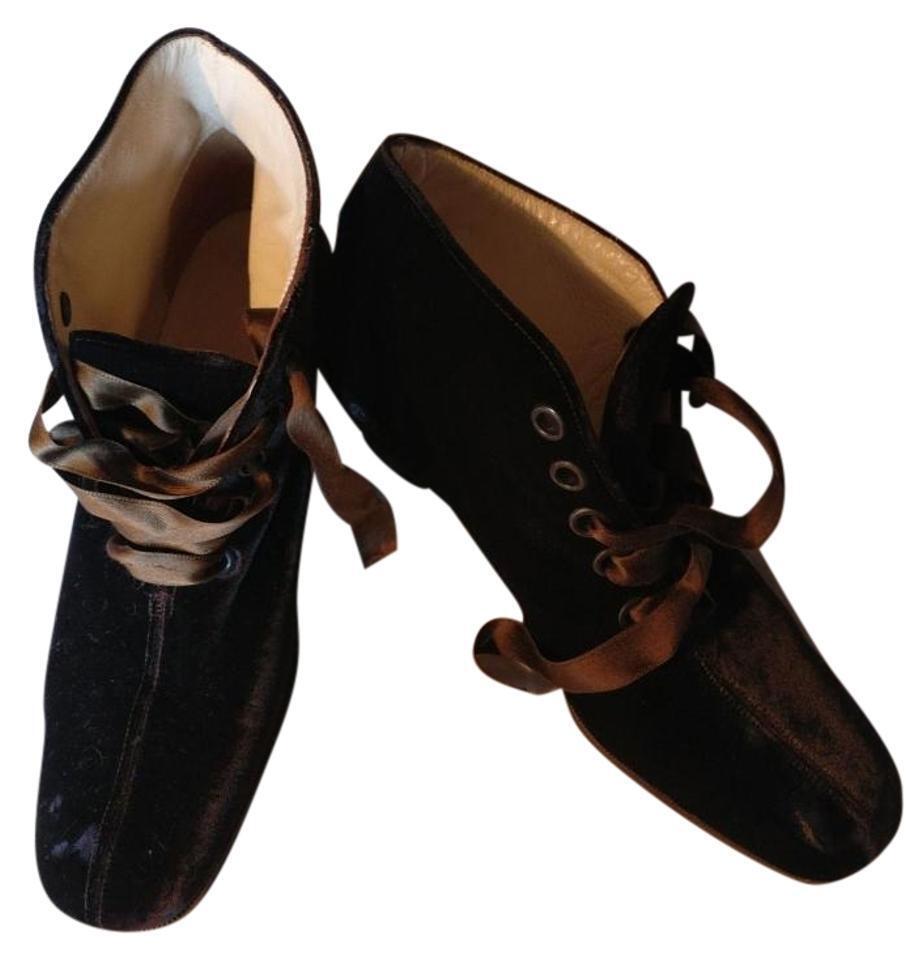Giorgio Armani marrón de terciopelo satinado acordonadas al tobillo Botines zapatos para mujeres zapatos Botines  38 Usado dd1d99
