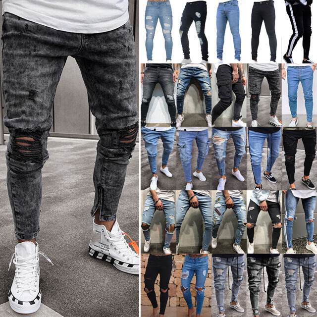 Mens Skinny Stretch Denim Pants Distressed Ripped Freyed Slim Fit Jeans Trousers