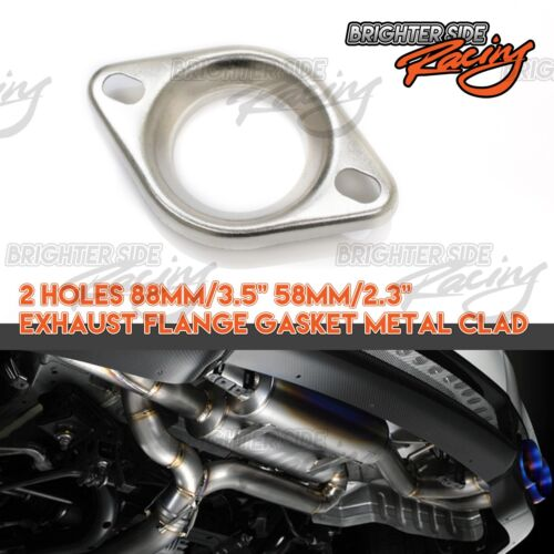 "FOR TOYOTA 1PC 3.5/"" 2.3/"" EXHAUST FLANGE COLLECTOR GASKET METAL CLAD 2 BOLT HOLE"