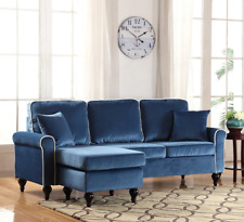 Classic Sectional Sofa Small Compact Chaise Couch Velvet Lounge Furniture  New