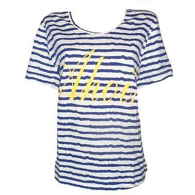 SHEEGO Shirt T-Shirt maritim Streifen Ahoi weiß-blau GR. 44 46 48 50 NEU - 144