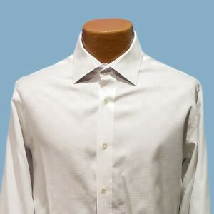BUGATCHI-UOMO-White-Classic-Fit-Flip-Cuff-Button-Dress-Shirt-Mens-Medium