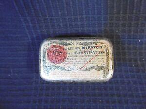 Box IN Metal Advertising Pellets Miraton Medication Constipation Antique