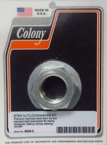 COLONY MACHINE STEM NUT AND LOCK WASHER KIT 1 949-UP WIDEGLIDE 8808-2