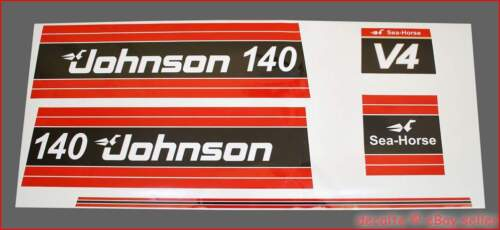 JOHNSON 1981 81 140 HP Motor Boat Sea Horse Power Laminated Decals Stickers Set