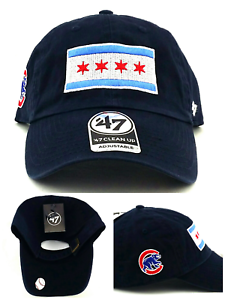 de21d591400 Chicago Cubs New 47 Brand Clean Up City of Flag Blue Slouch Era Dad ...