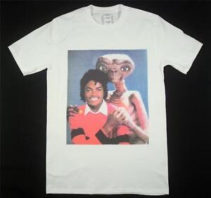 La imagen se está cargando Michael-Jackson-amp-E-t-Blanco-Camiseta-Talle-S- daf3ce83fc562