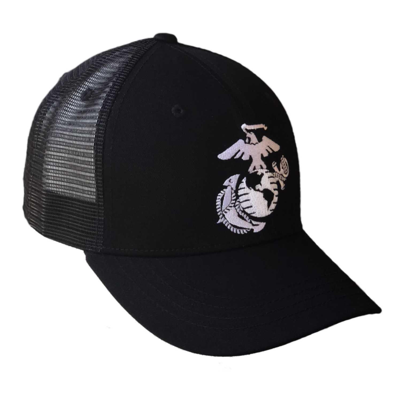 Details about Black United States Marines Corps USMC EGA Marine Baseball Mesh  Trucker Cap Hat c8288acba12c