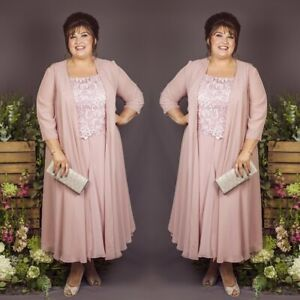 Plus-Size-Mother-Of-The-Bride-Dresses-Suits-Chiffon-Jackets-Outfits-UK20-22-24