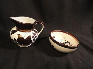 Copper-Lustre-Luster-Lancaster-Sandlan-Hanley-Englandware-Creamer-amp-Bowl-Floral