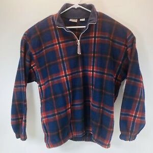 Bugle-Boy-Men-039-s-Snow-Fleece-Pullover-Jacket-Size-XL-1-4-Zip-Red-Blue-Plaid