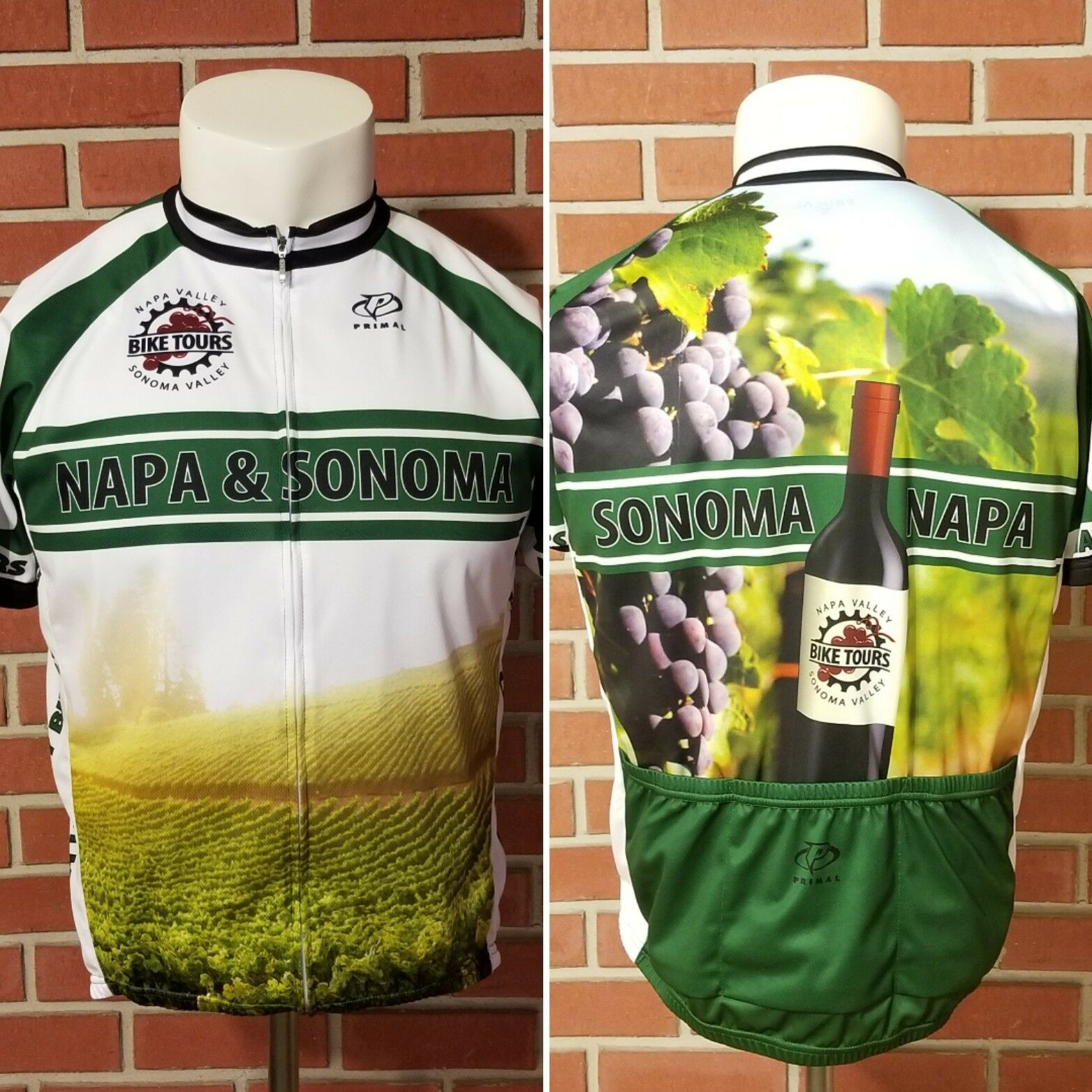 Primal Full Zip Short Sleeve Bicycle Cycling  Jersey Napa & Sonoma Tour Mens XL  save 50%-75%off